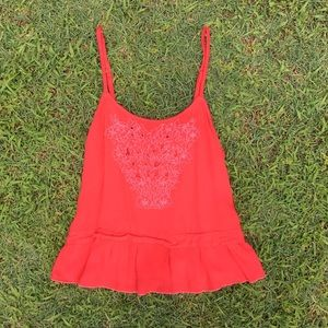 Red Flowy Summer Tank Top